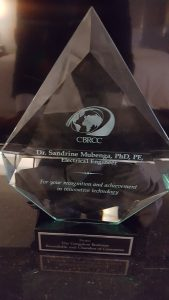 Award of Excellence For Dr Mubenga Presented at Congolese Business Roundtable and Chamber of Commerce launch